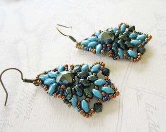Beaded earrings, chandelier, Midnight blue and green duck shape