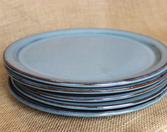 Pottery large dinner plate, 11 inch stoneware plates, wheel thrown plates