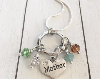 Silver Mothers Swarovski Crystal Birthstone Necklace