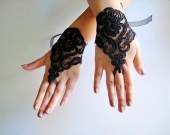 Black fingerless gloves for weddings, Black lace gloves, Fingerless lace gloves