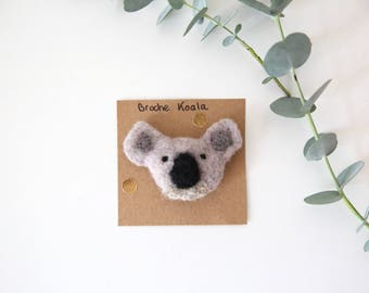Brooch Koala wool carded - felted, embroidered