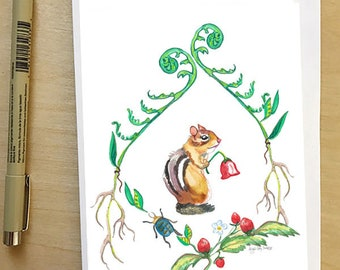 Chipmunk, greeting card by Abigail Gray Swartz, 5x7 floral and fauna