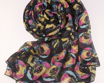 Black Silk Chiffon Scarf with Multi-color Abstract Skull Print - Skeleton Printed Silk Scarf - AS31