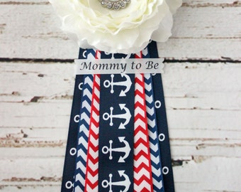SALE! Nautical Baby Shower Corsage Pin with Anchor, Red, and Blue Chevron Ribbon and Mommy to Be, Grandma to Be, and other Custom Tags