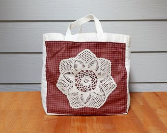 Canvas Market Bag, Red Checkered Fabric and Doilies, Tote Bag