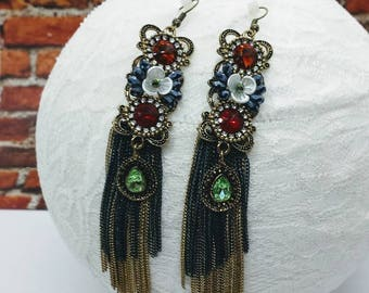 Chain Dangle Earrings; Chain Tassel Earrings; Big Dangle Earrings; Bronze Statement Earrings; Fancy Earrings; Big Earrings