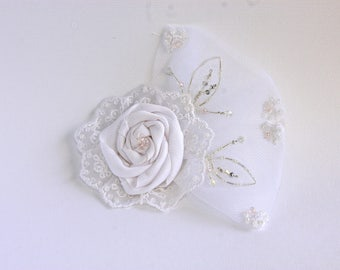 Ribbon Rose Bridal Hair Comb with Beaded Tulle and Lace Accents