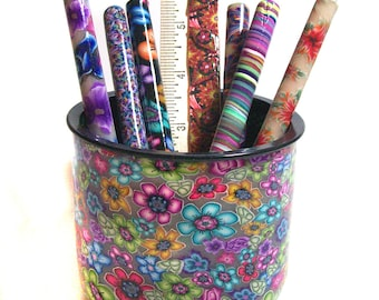 Pen Pot with 6 pens and ruler English Garden Millefiori polymer clay design PP59