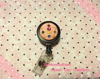 Sailor Moon Crystal Star Makeup Compact ID Badge Reel Polymer Clay