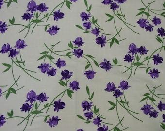 "Vintage Feedsack Fabric, Graceful Purple Floral, Large 36 x 41"""