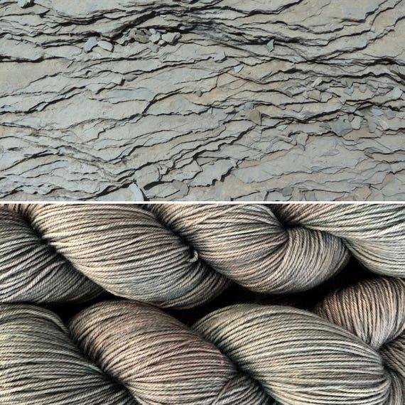 Slate, hand-dyed 75/25 merino nylon blend grey gray sock yarn