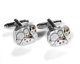 Mens MOVADO Cufflinks Ruby Jewel Watch Cuff Links Wedding Anniversary Fathers Groom Groomsmen Fiancee Cufflinks Gift - Jewelry by edmdesigns