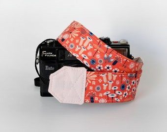 Organic cotton camera strap, pink camera strap, Floral camera strap, photographer gift, canon camera strap, nikon camera strap