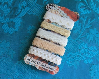 5 yards of vintage laces in lovely soft tones, great for CQ, dolls clothing, fabric books, tags etc.