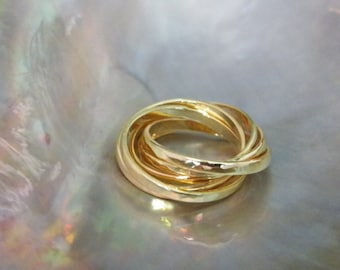 Hammered .925 Sterling Silver Interlocking Five Band Rolling Ring 14K Gold Plate