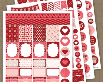 INSTANT DOWNLOAD »» PRINTABLE «« February Pink and Red Valentine's Day Planner Stickers