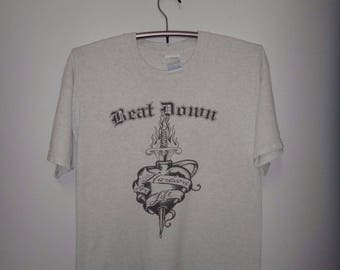 Vintage 1990s Beat Down Hardcore For Life T Shirt NYHC Punk Rock Tee German