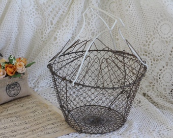 Vintage French Wire Egg Basket - Salad Basket - Collapsible Wire Basket