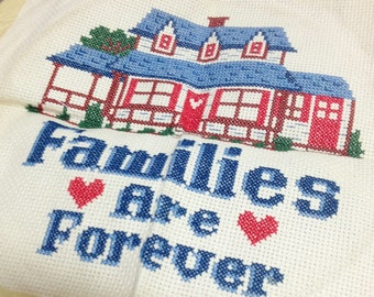 Vintage Counted Cross Stitch - Families Are Forever with Hearts Red House