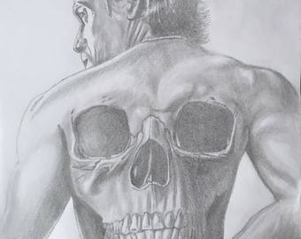 pencil drawing of Jaxx from Sons Of Anarchy, black and white graphite illustration