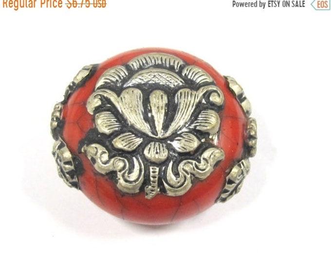 SALE 1 Bead - Beautiful large reversible red crackle resin Tibetan silver Lotus flower bead - BD792