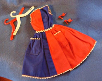 1963 MINT! *FANCY FREE* #987 Red & Blue Dress w/ Ric Rac, Red Open Toe Shoes and Hangers  -Early Vintage Barbie Outfit