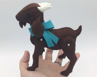 Handsewn Wool Felt Keepsake Goat with Bow Plush