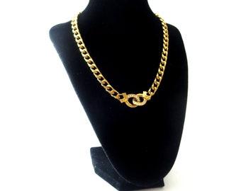 Swarovski Signed SAL Chunky Gold Tone Chain & Clear Swarovski Crystal Vintage Necklace