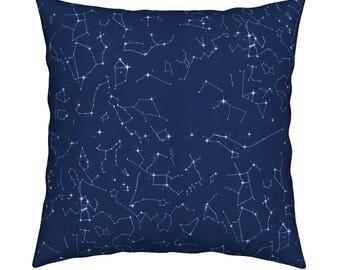 Home Decor Pillow Cover, 18 x 18 Pillow, Navy Constellation Map, Galaxy Decor, Zodiac Decor