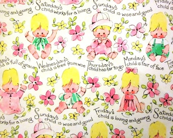 Vintage Wrapping Paper - Days of the Week - Full Sheet Gift Wrap