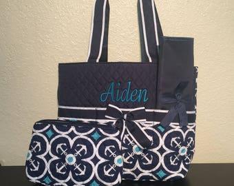 Anchor Print Monogrammed Diaper Bag Navy Blue and White with Navy Blue Trim