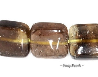 8mm Smoky Lemon Quartz Gemstone Dark Brown Yellow Perfect Square Loose Beads 16 inch Full Strand (90147293-436)