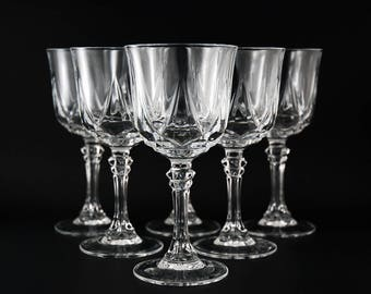 Six Vintage Lead Crystal Wine Glasses, Cristal D'Arques Durand, Auteuil Pattern, Size 6 Inch, Made in France, Wedding and Housewarming Gift