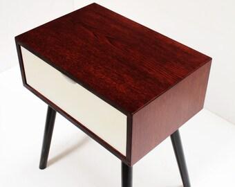 Bedside Table/ Nightstand/ Mid Century/ Oak/Brazilian Rosewood/Custom made/ Handmade