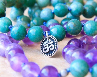 Zen Mala Necklace, Knotted Mala Prayer Beads, Yoga Jewelry, African Jade & Amethyst – Energy, Rejuvenation, Healing, Guidance in Crisis