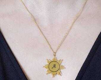 Sun,solar pendant, name necklace, custom necklace, personalized necklace