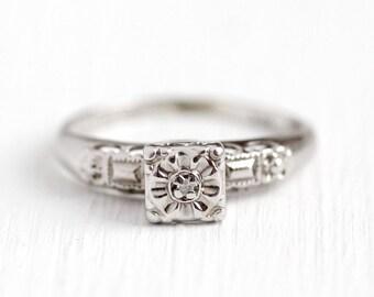 Sale - Vintage Diamond Ring - 1950 Mid Century Era 14k White Gold Size 5 Engagement - Fine Bridal Wedding Illusion Head Rays Of Love Jewelry