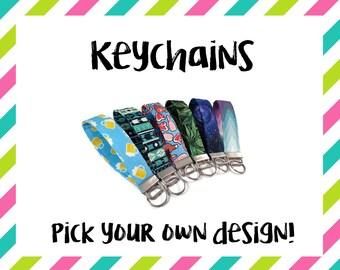 Key Fob, Fabric Keychain, Key Chain Wristlet, Fashion Keychain, Key Chain, Fabric Wristlet, Gifts Under 10, Stocking Stuffer