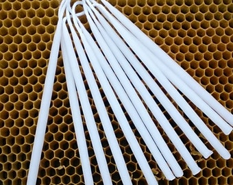 12 WhiteBirthday Candles, Beeswax Birthday Candles, Hand Dipped Candles,pure bees wax  Natural Tapers, Natural Beeswax Wedding Candles