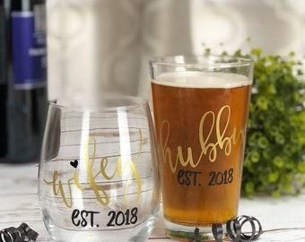 Hubby and Wifey Glasses - Stemless Wine Glass - Pint Glass - Beer Glass - Wedding Glasses - Newlywed Gift - Wedding Gift - Gift for Couple