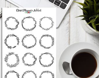 Floral Wreaths Planner Stickers | Floral Stickers | Wreath Stickers | Journalling Stickers | Black and White Stickers | Monochrome (S-265)