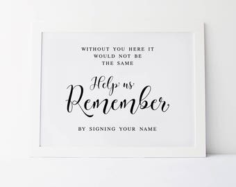 Help Us Remember By Signing Your Name, Wedding Signage, Please Sign, Wedding Signs, Reception Signs, Guestbook Sign, Guest Book Sign