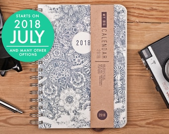 2018 2019 Daily Planner with a high quality paper! Floral Doodle A5 Diary! Weekly Calendar Calendario Kalender Agenda Journal! Open-dated