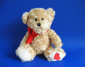 Vintage Teddy Bear Stuffed Animal with Heart on Foot Toy by American Greetings 1990s Toy Plush