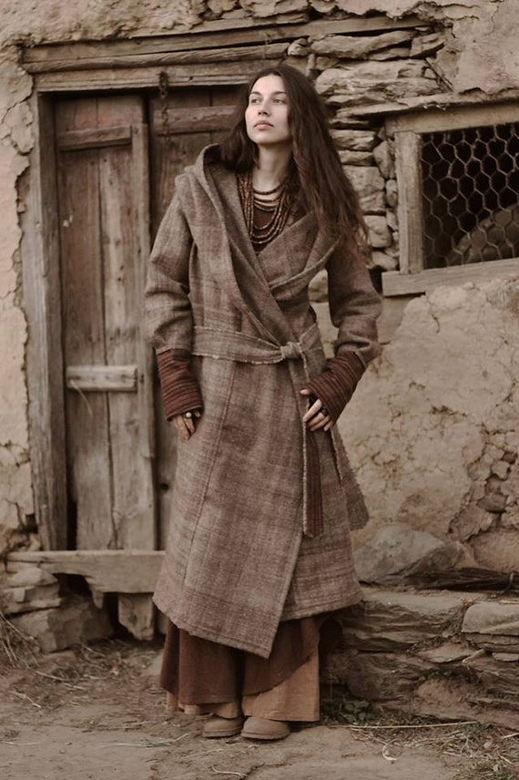 handwoven Coat Wool with Hoodie Himalayan dWvZzqwd