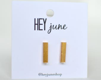 Gold Bar Earrings,  rose gold bar earrings, bar earrings, silver bar earrings, minimalist earrings, bar stud earrings