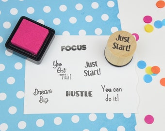 Just Start Motivational Stamp - Handmade Rubber Stamp - Planner stamp - journal stamp - bullet journal
