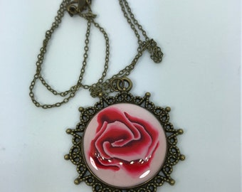Handmade Polymer Clay Rose Necklace