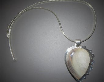 Large Sterling Silver Agate Pendant Necklace White and Grey Agate Silver Pendant on 18 inch Omega Chain by Barbara Kirby
