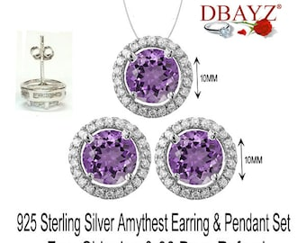February Amythest Stud Earring & Pendant Chain Set Solid 925 Sterling Silver